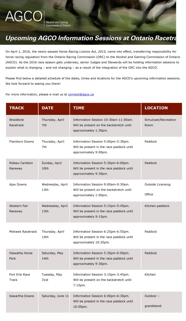 Upcoming AGCO Information Sessions at Ontario Racetracks