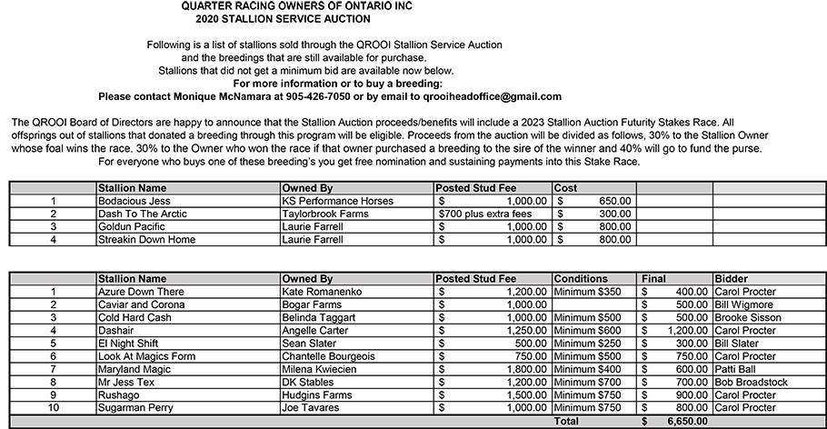 QROOI Stallion Auction- Final