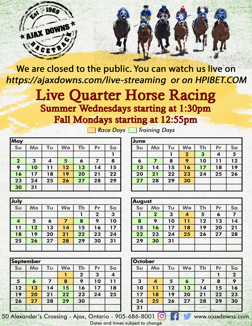 Live Quarter Horse Racing at Ajax Downs Schedule