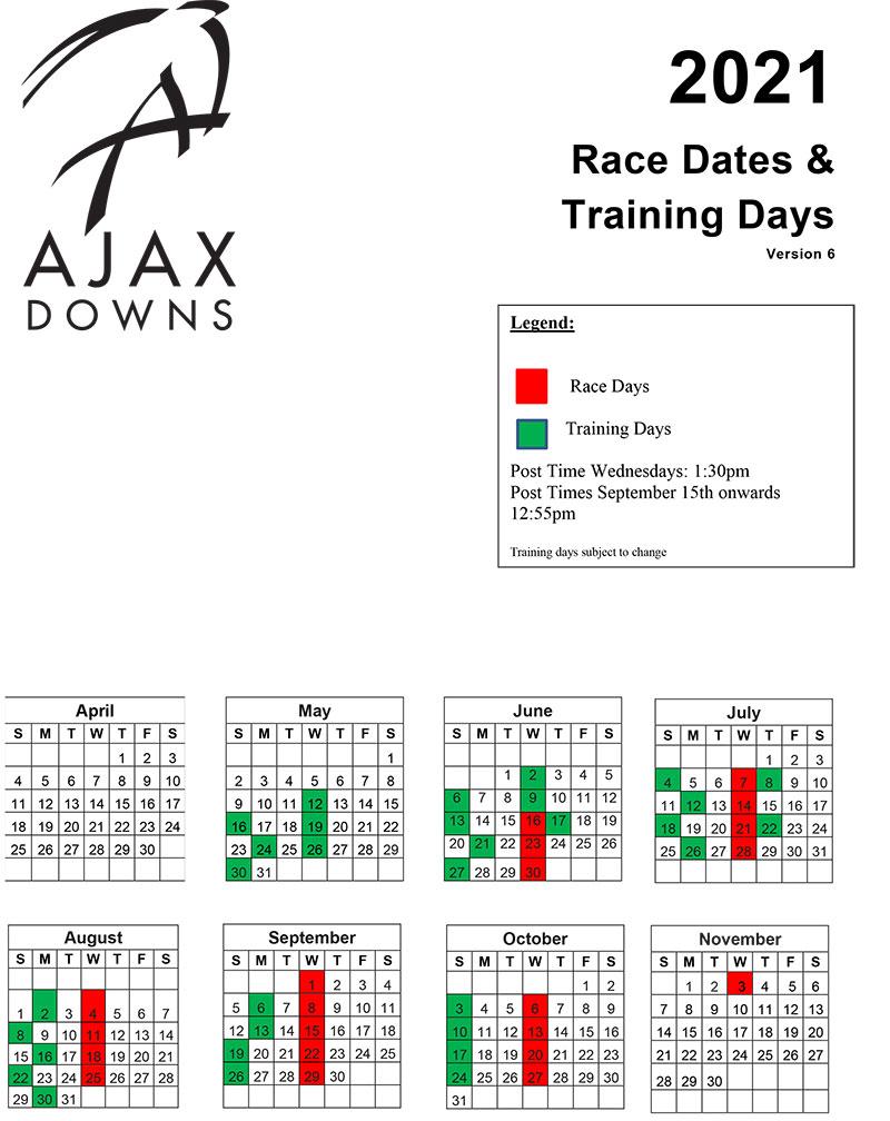 2021 Revised Racing Schedule Ajax Downs